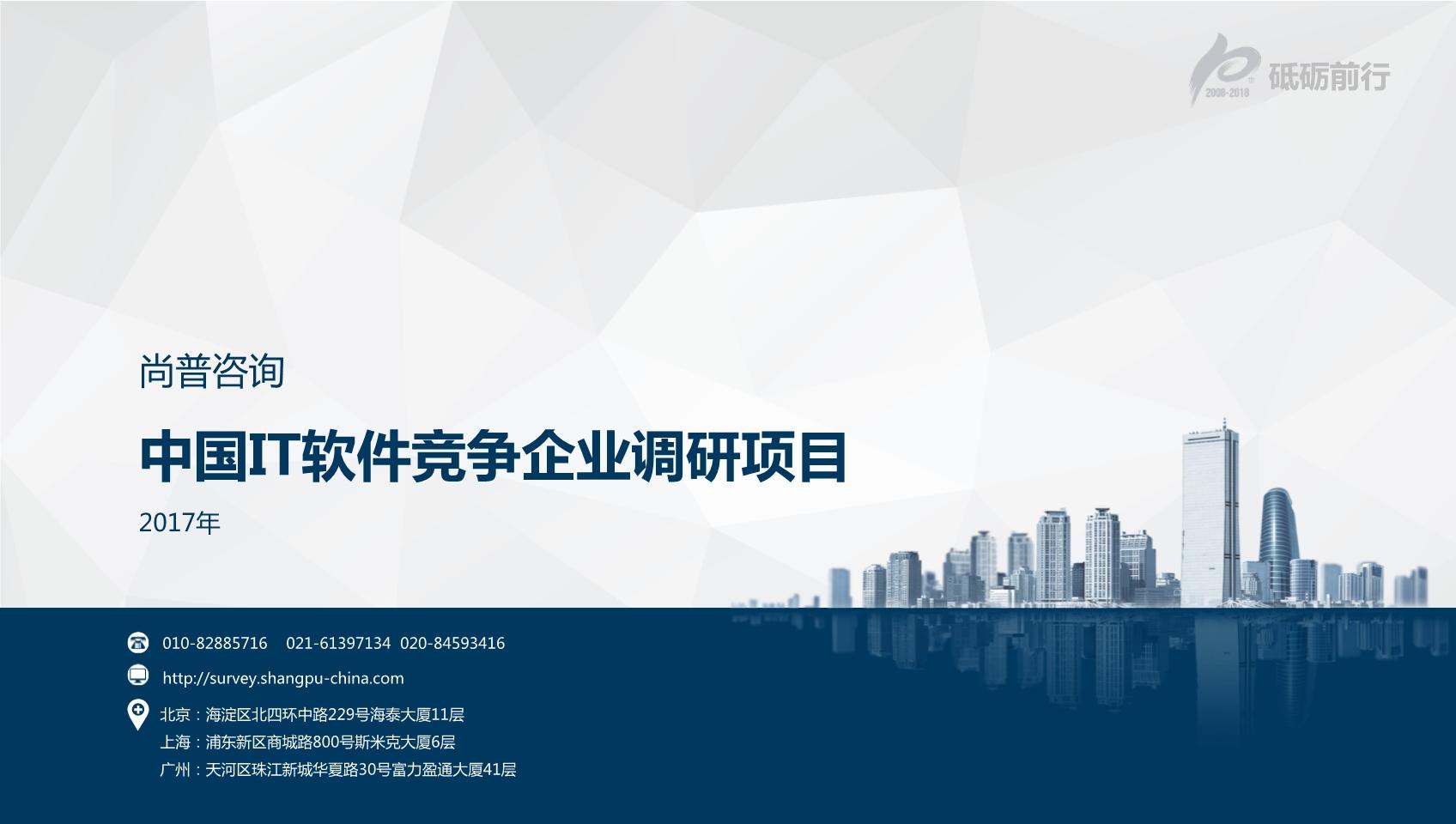 尚普咨询-中国IT软件竞争企业市场调研