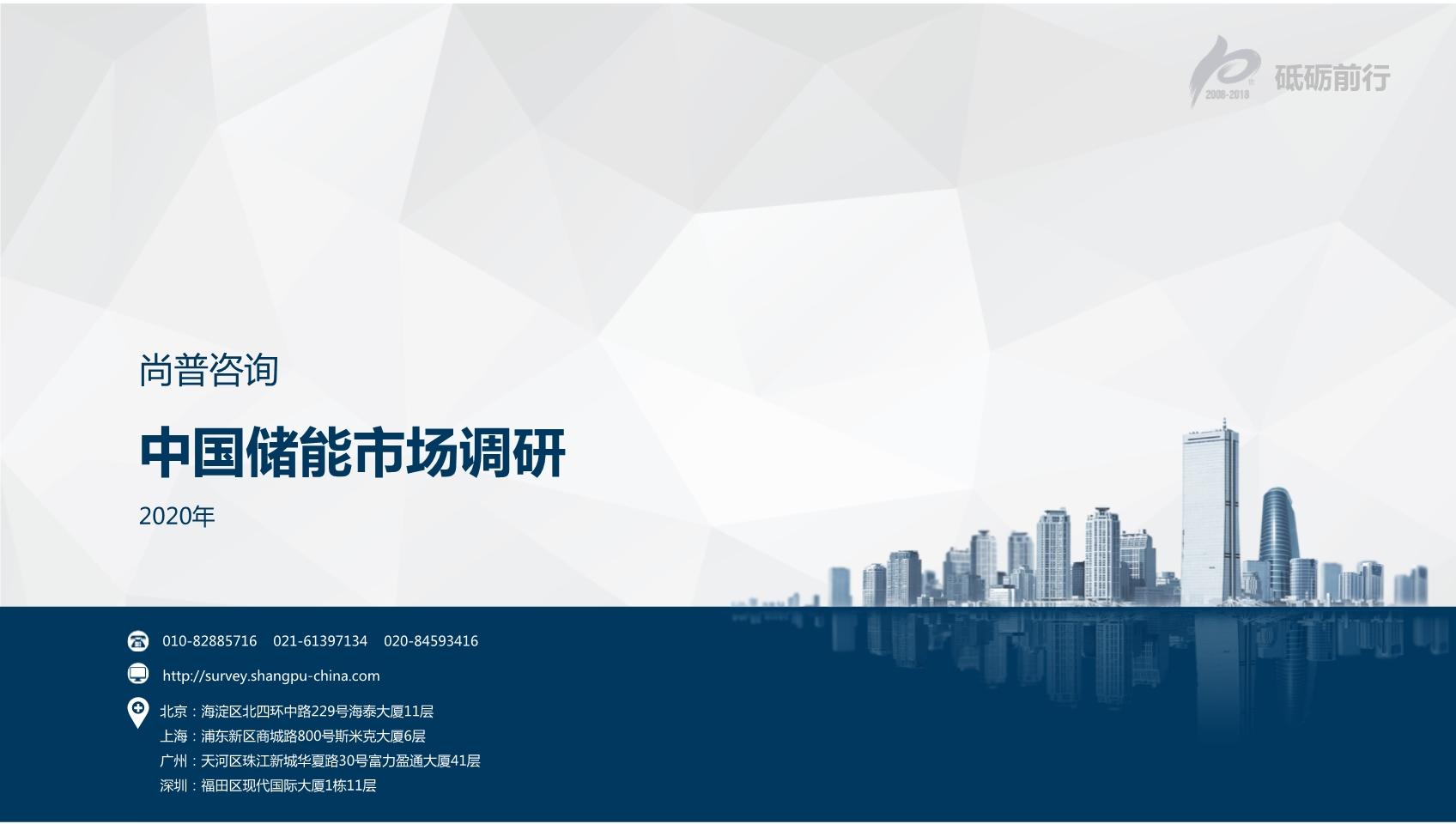 尚普咨询:2020年中国储能市场调研