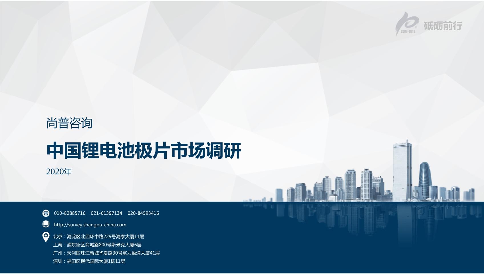 尚普咨询:2020年中国锂电池极片市场调研